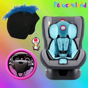 decoración coche y moto de peluche